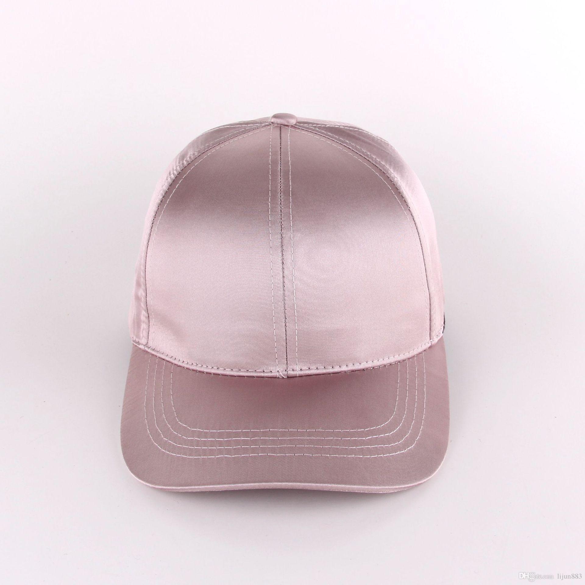 d3ca7bd7021 Satin Baseball Cap Custom Spring And Summer Korean Lady Wild Cap Blank  Casual Pink Sun Hat Big Hats Hat Stores From Lijun883