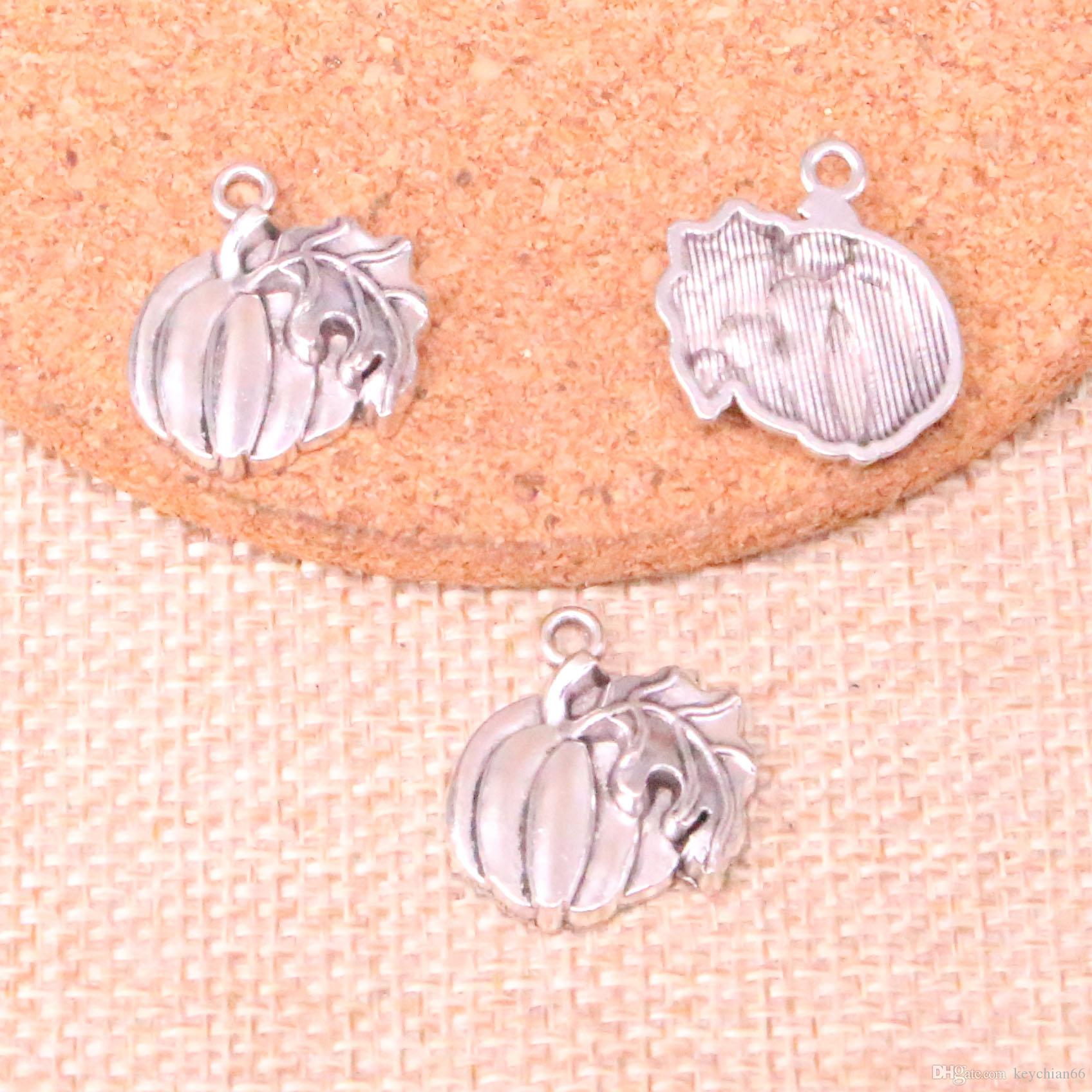 55pcs Antique silver pumpkin leaf fall thanksgiving halloween Charms Pendant Fit Bracelets Necklace DIY Metal Jewelry Making 21*18mm