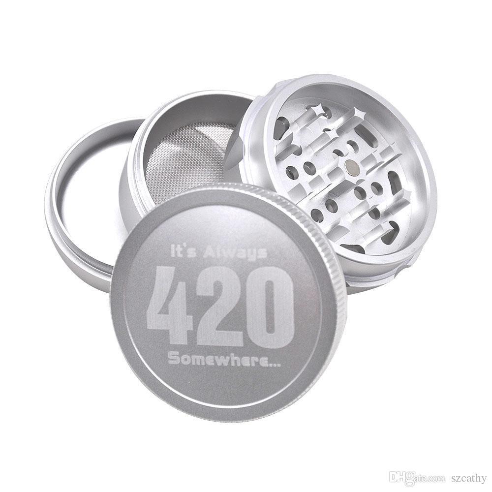 Le smerigliatrici in metallo 420 Grinders erba asciutta 4 strati 63 millimetri 2.48 pollici nero argento oro frantoio di spezie di alta qualità