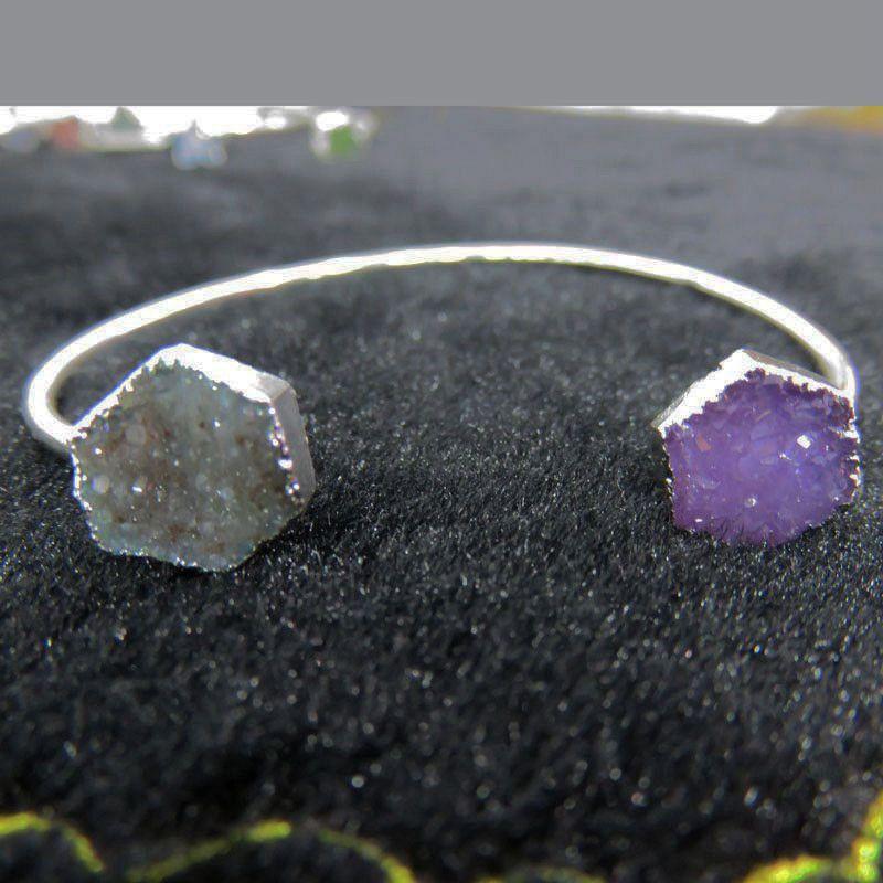BOROSA Style À La Mode Argent Couleur Arc-En-Couleur Géométrique Forme Naturel Agates Cristal Minuscule Druzy Pierre Bracelets