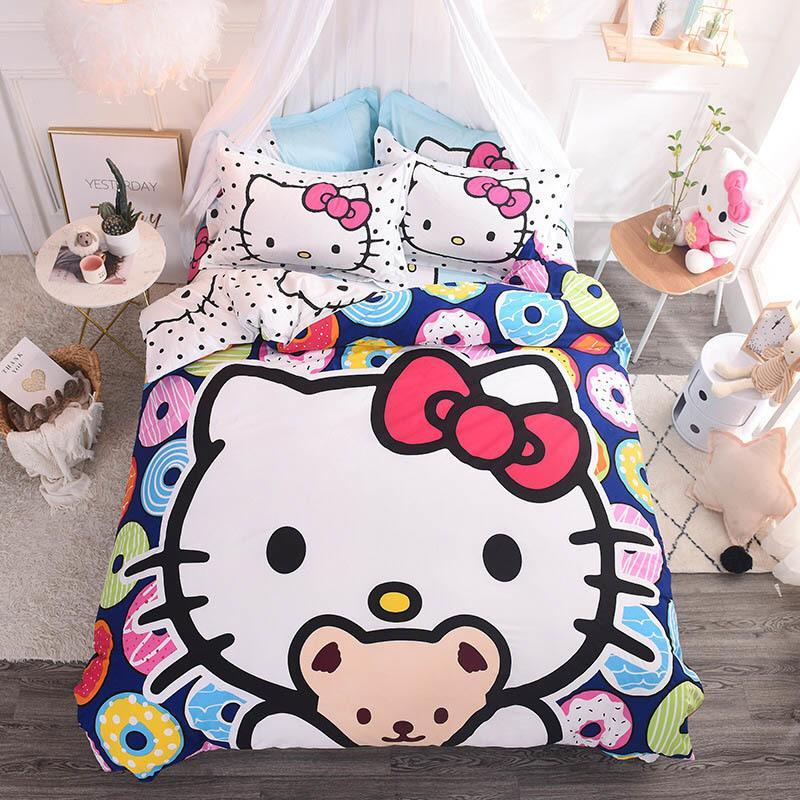 b331876c1aeb Cartoon 3D Doraemon Hello Kitty Cotton 3 Bedding Set Contain Duvet Cover  Bed Sheet Pillowcase Kids Bed Linen TJ 29 Bedroom Blanket Sets Linens  Bedding From ...