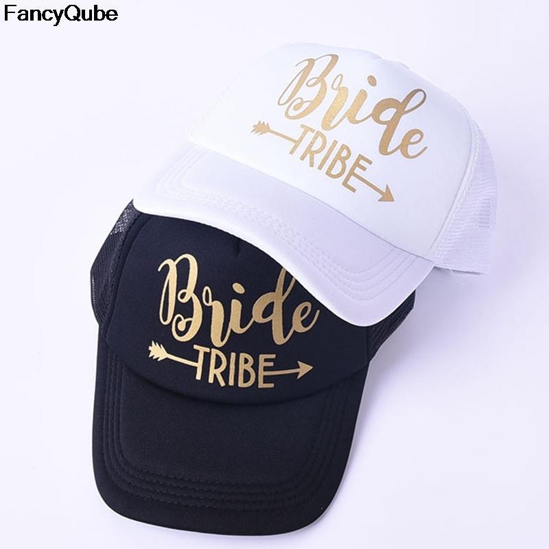 b725b8bfffbbe Compre BRIDE TRIBE Malla De Impresión De Oro De Las Mujeres De La Boda Gorra  De Béisbol Del Partido Del Sombrero De Marca Bachelor Club Team Snapback  Caps ...