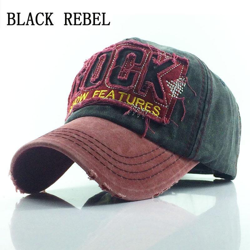 138e8f0dc3e0 Rebel negro 100% Gorra de béisbol lavada Sombreros Snapback Otoño Sombrero  de verano para hombres Mujeres Gorras Casquette sombreros bordado de la ...