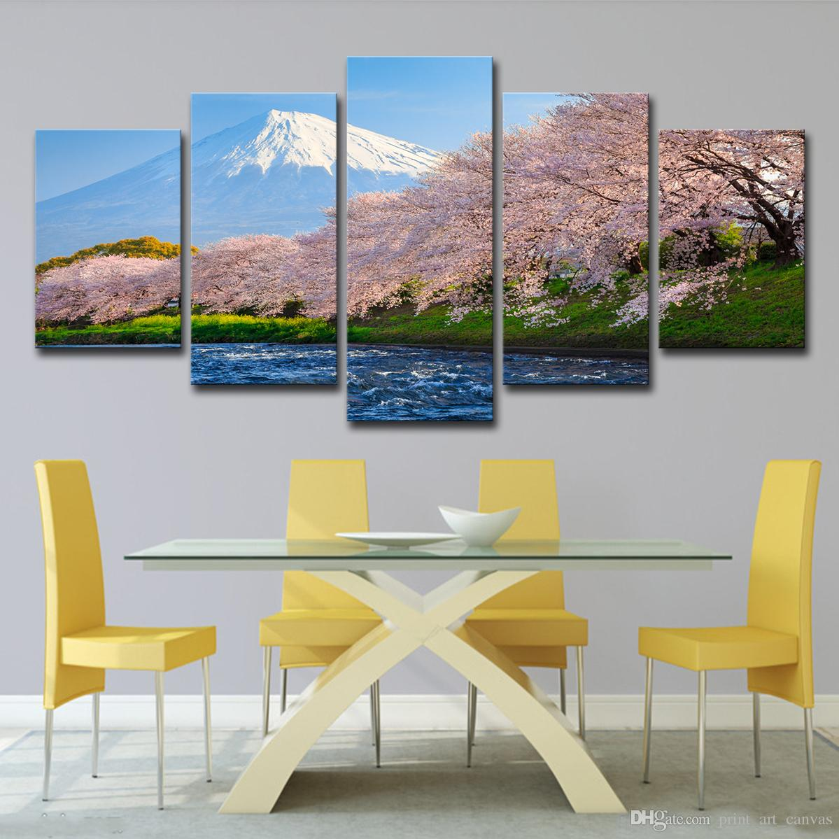HD Print Canvas Painting On 5 Panel The Cherry Blossom Landscape Paintings Wall For Living Room Cuadros Modular Picture