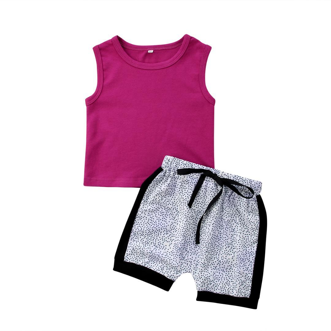 2019 Casual Kids Baby Girl Vest Tops Spot Shorts Panties Clothes