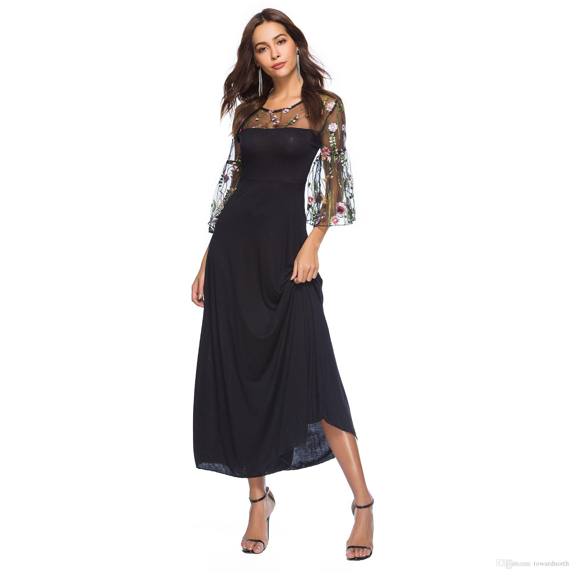 66335c8f9ab47 Satın Al Çiçek Nakış Örgü Elbise 2018 Yaz Elbise Kadınlar Zarif Siyah  Vintage Yarım Flare Kol Maxi Elbiseler, $27.64 | DHgate.Com'da