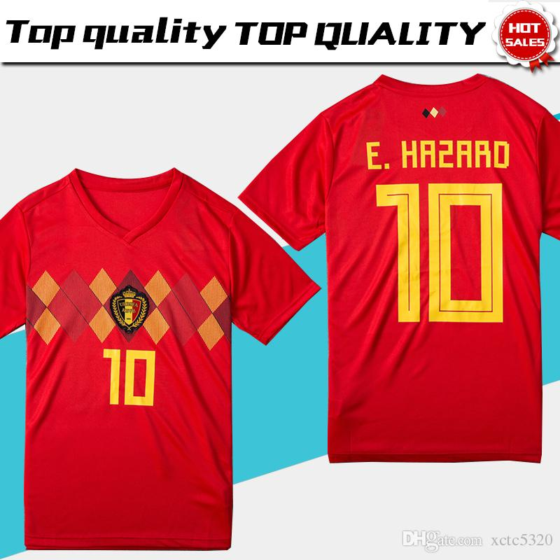 2018 World Cup Belgium Soccer Jersey 2018 Belgique Home Red Soccer Shirt   10 E.HAZARD  7 DE BRUYNE  9 R.LUKAKU Belgien Football Uniform UK 2019 From  ... 2a2c9e32e