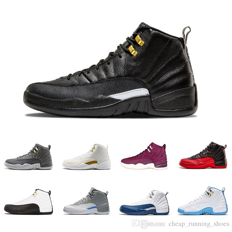 e692e6af5557 2018 12 12s Men Basketball Shoes White Flu Game GS Barons Wolf Grey ...