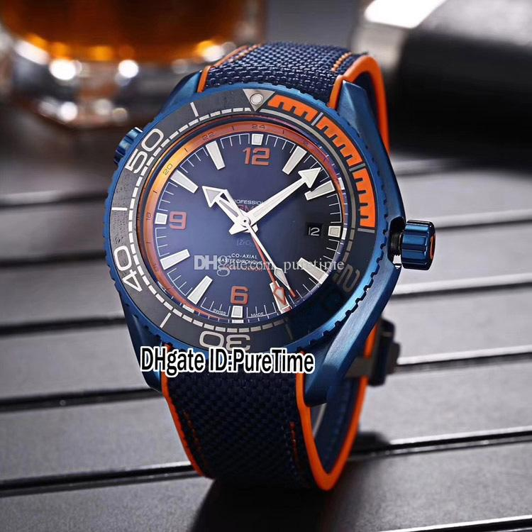 New Planet Ocean 600M 215.92.46.22.03.001 Steel Blue Bezel Blue Dial Orange Inner A2813 Automatic Mens Watch Nylon Leather Strap Watches 36a