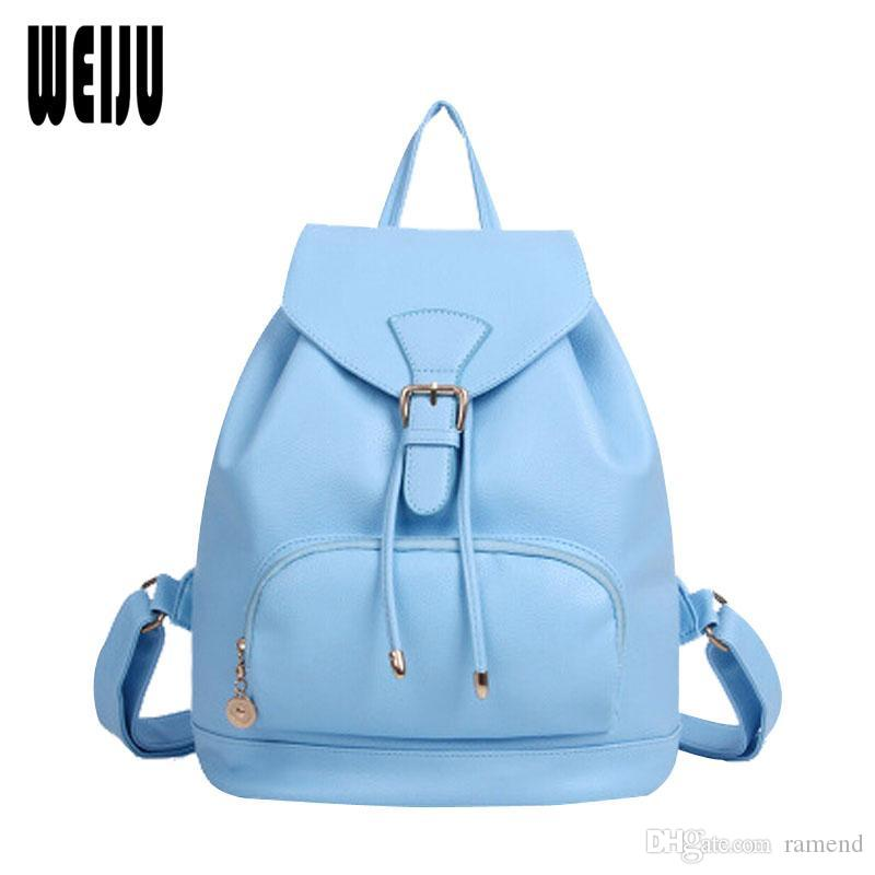 32c54f9b5b4 Wholesale 2017 New Korean Fashion Women Backpack Bag Candy Color Preppy Style  School Bags Casual Pu Leather Travel Bags 7.27 276 Laptop Backpacks Travel  ...