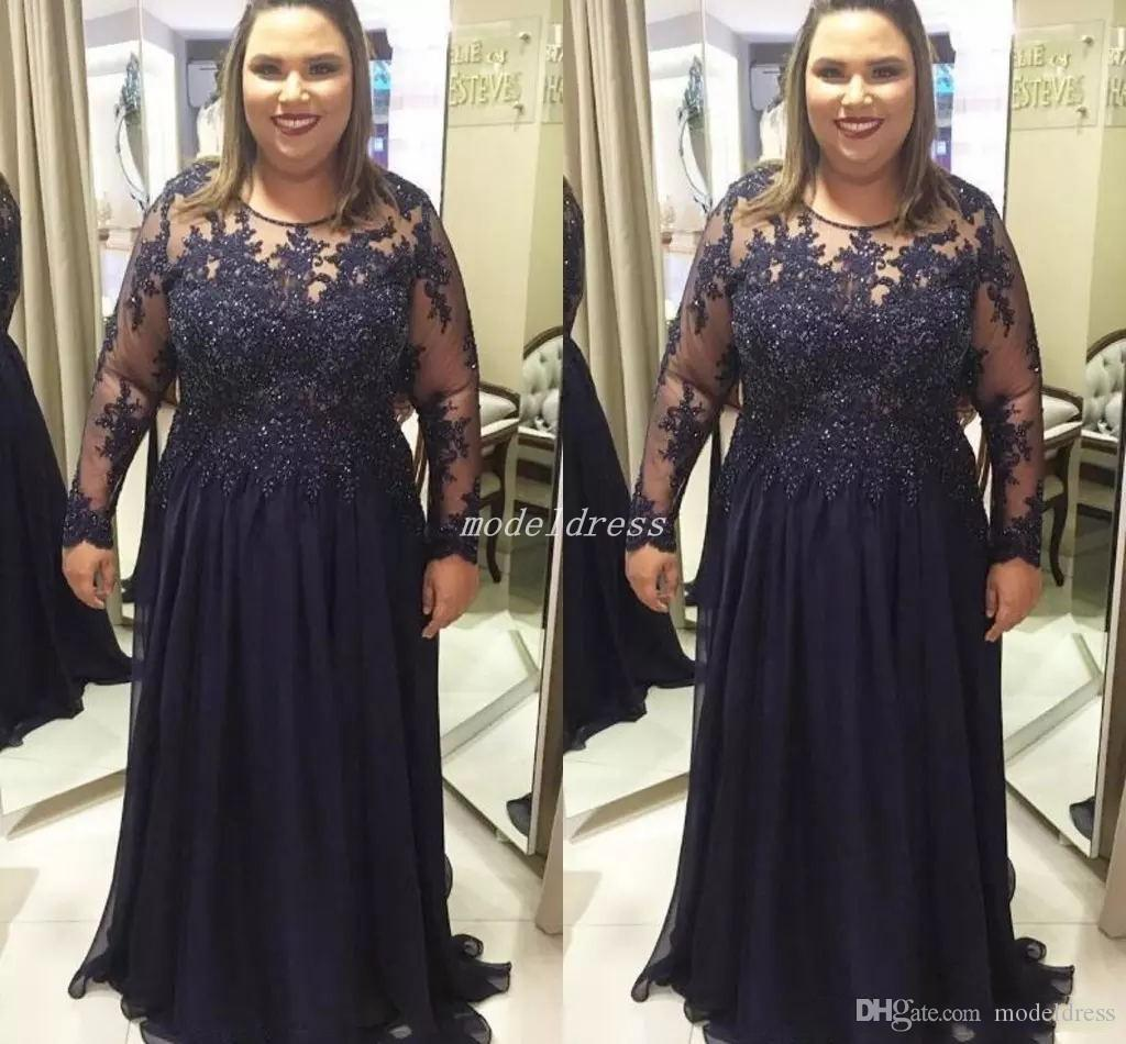 Dark Navy Plus Size Mother Of The Bride Dresses 2018 Jewel Long Sleeve Sweep Train Appliques Beaded Chiffon Women Prom Party Gowns