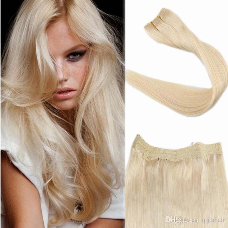 2018 60 Lightest Blonde No Clips Halo Flip In Hair Extensions 12