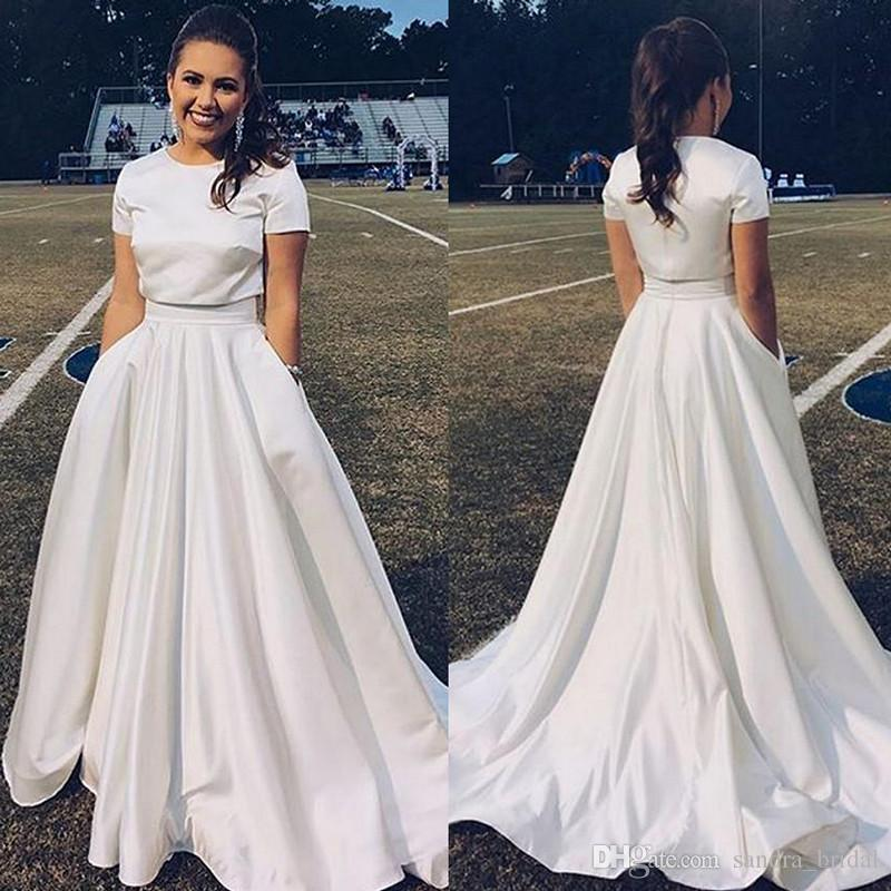 Simple Long White Dress With Sleeves Naf Dresses: Cheap White Two Pieces Prom Dresses Jewel Neck With Short