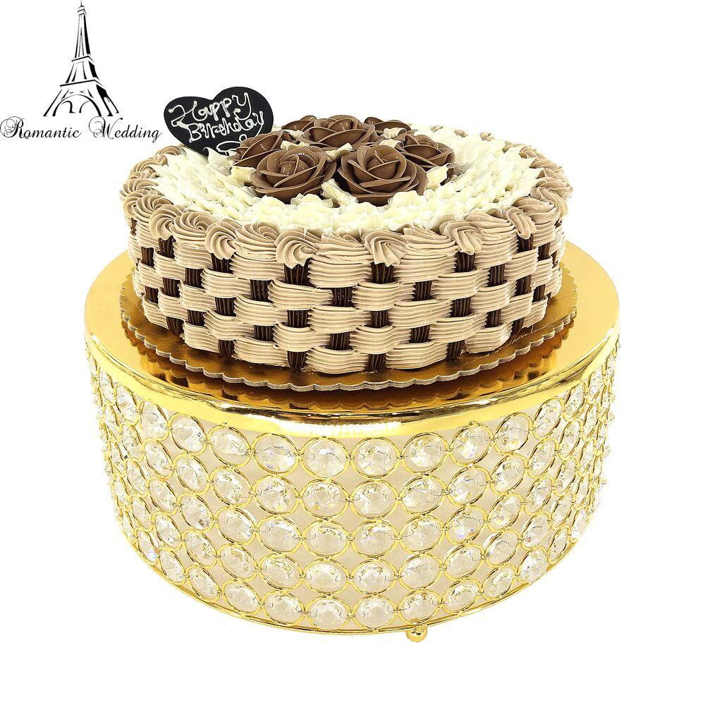 2018 Romantic Wedding Metal Round Three Layer Crystal Beads Cake ...
