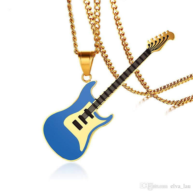 5e5a46d62 Wholesale Blue Guitar Pendant For Women Men Necklace Stainless Steel Music  Lover Club Accessories Casual Punk Unisex Jewelry 24 Chain Diamond Pendant  ...