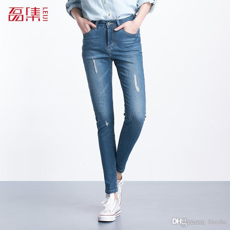 df31ff4ebef 2019 Wholesale Plus Size 2016 Leiji Fashion Women Elastic Ripped Blue Denim  Jeans Pencil Casual Skinny Pants Mid Waist Women Trousers From Haodei