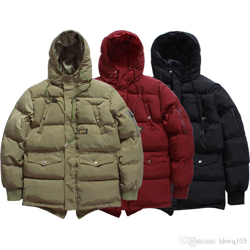 cb45f675a3d Men's Winter Jackets Green Red Black Hooded Quilted Puffer Jacket Long  Thicken Bomber Jacket Parka Coat Outerwear M-2XL BFSH0613