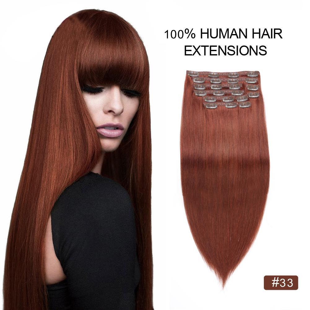 33 200g Copper Auburn Clip Hair Extensions Remy Human Hair Dark