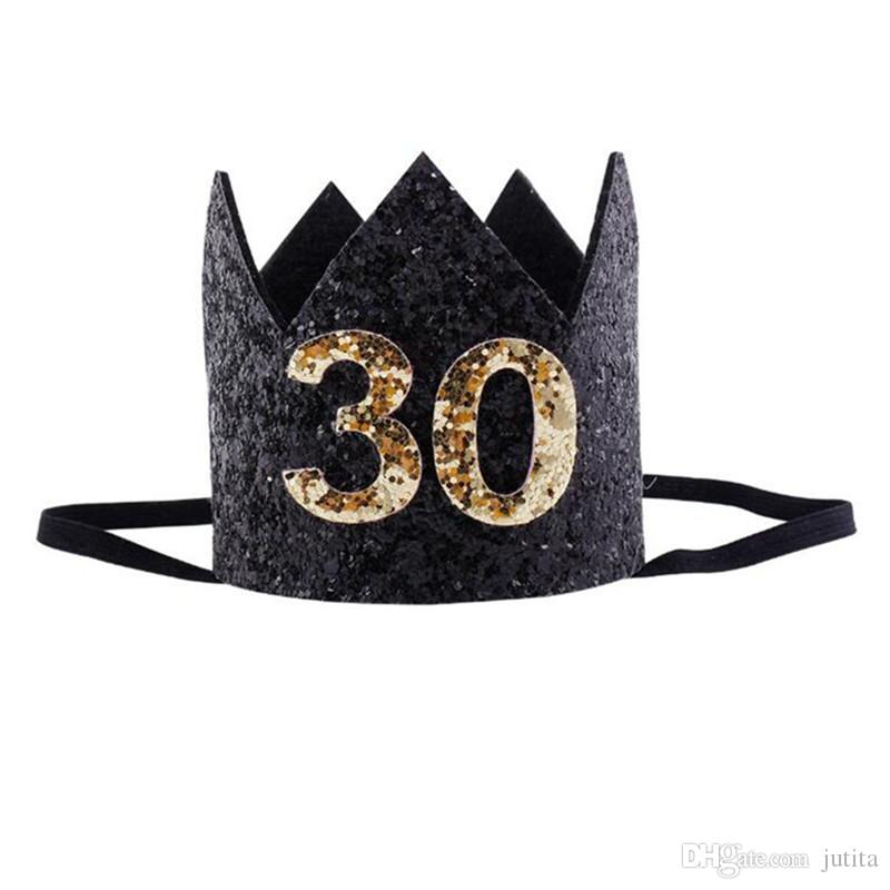2018 New 30 Years Old Birthday Headband Crown Women Lady Girls Decorative Hairband Headwear Birthday Party Favor Gifts