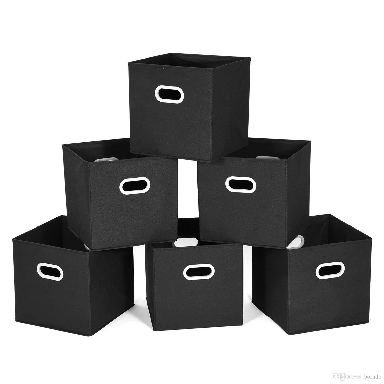 Cloth Storage Bins Cubes Baskets Containers With Dual Plastic Handles For  Home Closet Bedroom Drawers Organizers, Foldable, Black, 11.25 Cloth Storage  Bins ...