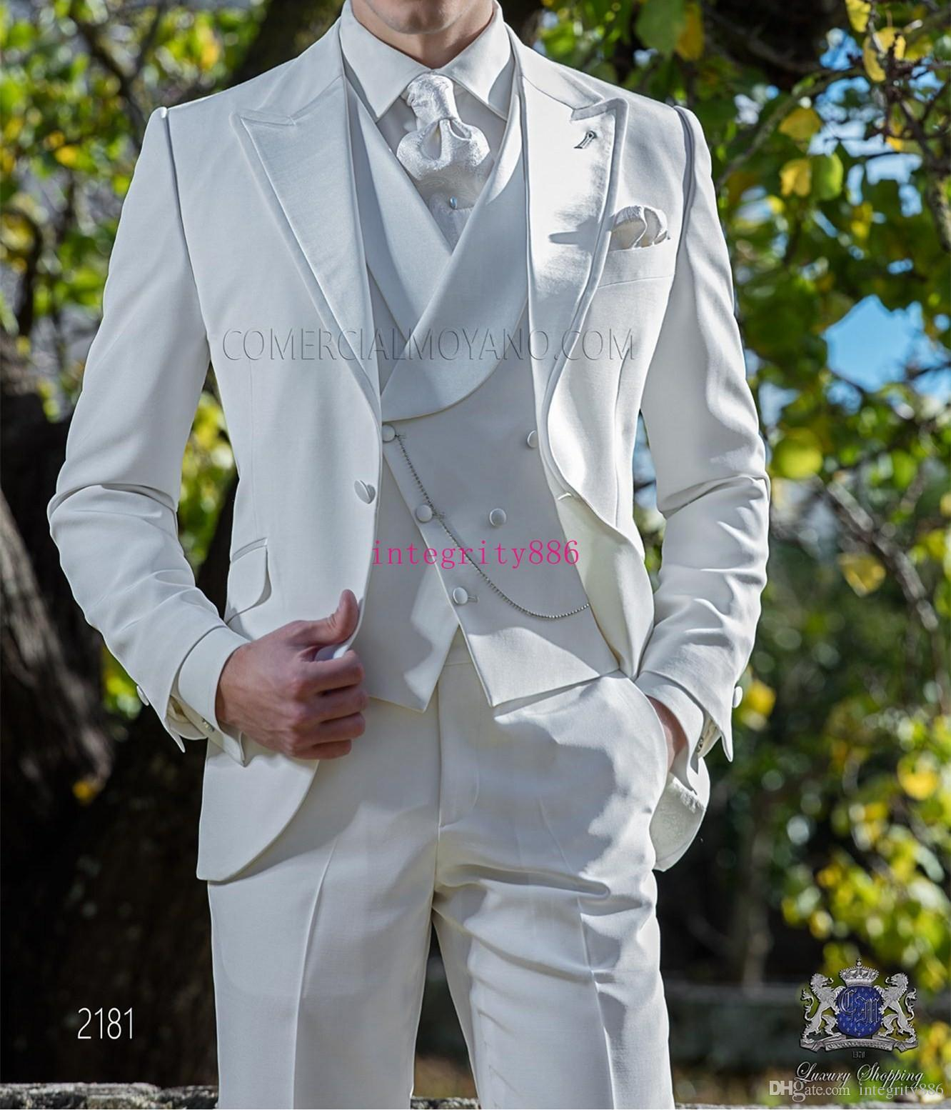 Fashion Ivory Suit Men Wedding Tuxedos Handsome Groom Tuxedos ...
