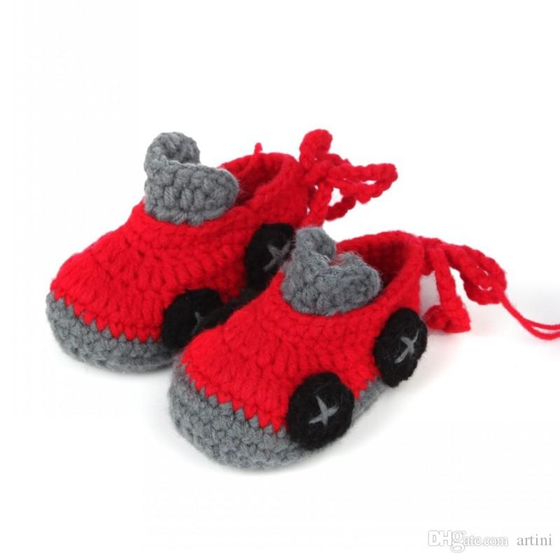 Cartoon Car Baby Boy Shoes Handmade Crochet Booties Soft Sole Baby Moccasins 11cm for 1-18M Baby Free FBA Shipping D352S