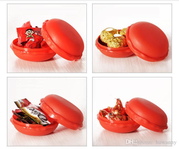 Contenitore di monili creativo di PP i Macarons torta di plastica rotonda Candy Mini contenitori di regalo Trasporto libero all'ingrosso 0717WH