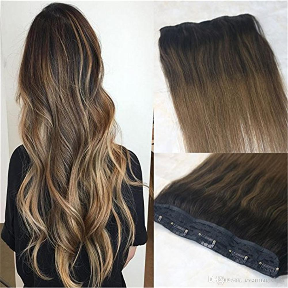One Piece Clip In Human Hair Extensions 70g Ombre Balayage Dark