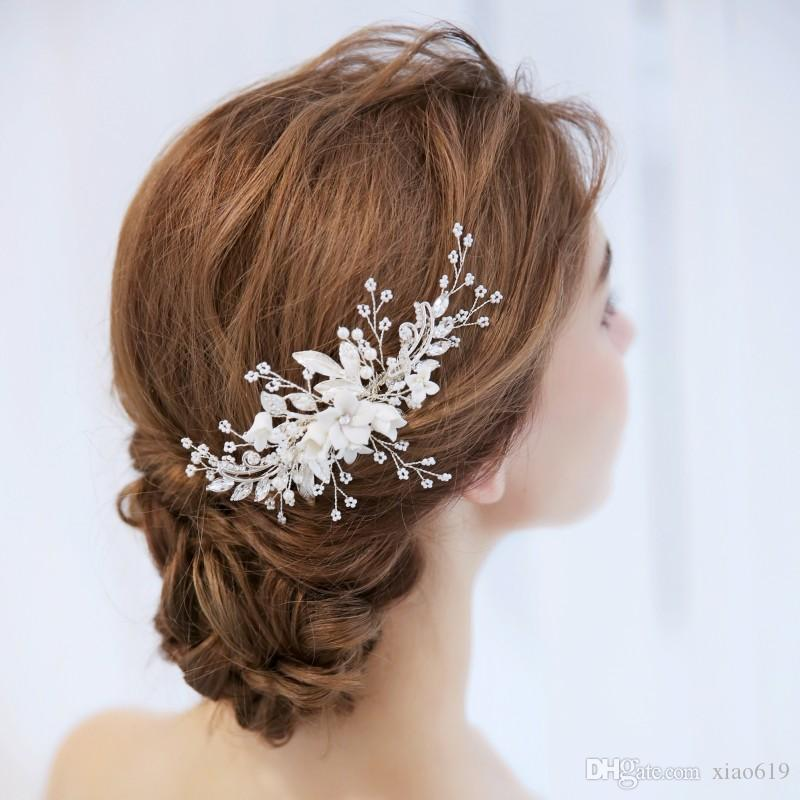 New Design Bridal Flower Headpiece Hair Comb Pearls Wedding Prom