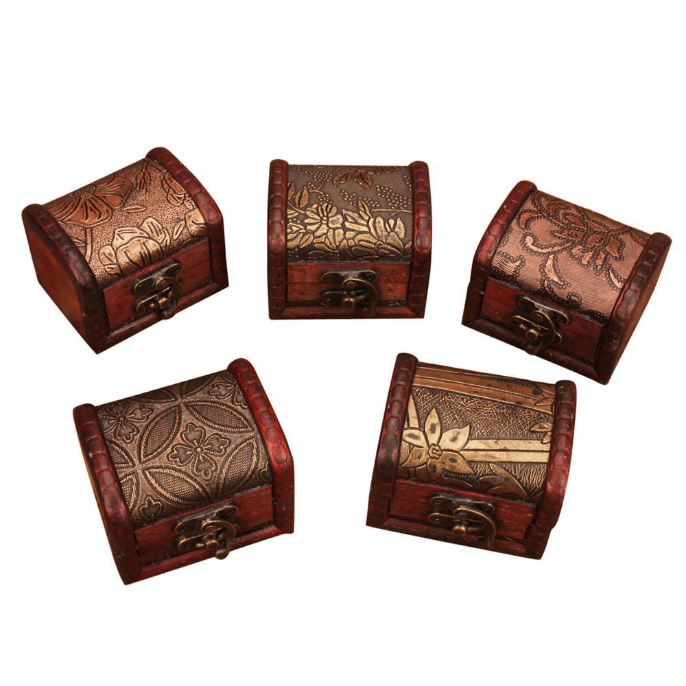 Organisateur de cas de stockage de bijoux de bibelot en bois de serrure de