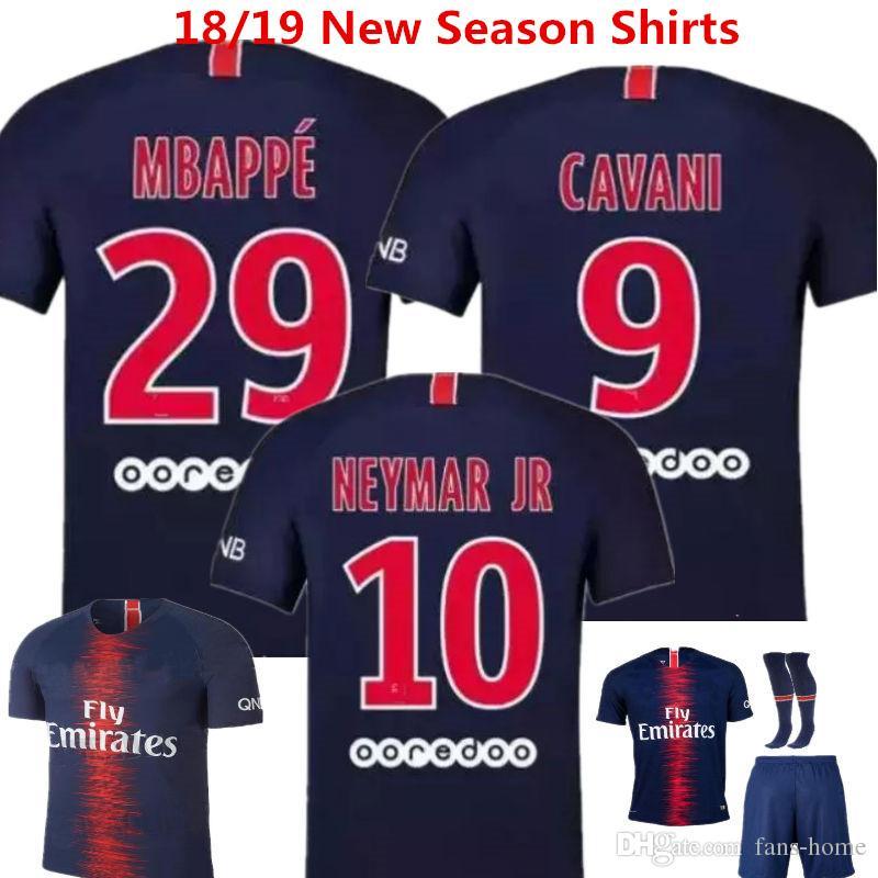 d8bc98590a133 2019 Soccer Jeryey Neymar Jr Football Shirts 18 19 Mbappe Cavani France  Camisa De Futebol Draxler Dani Alves Di Maria Home Boy Uniforms Kids Kits  From Fans ...