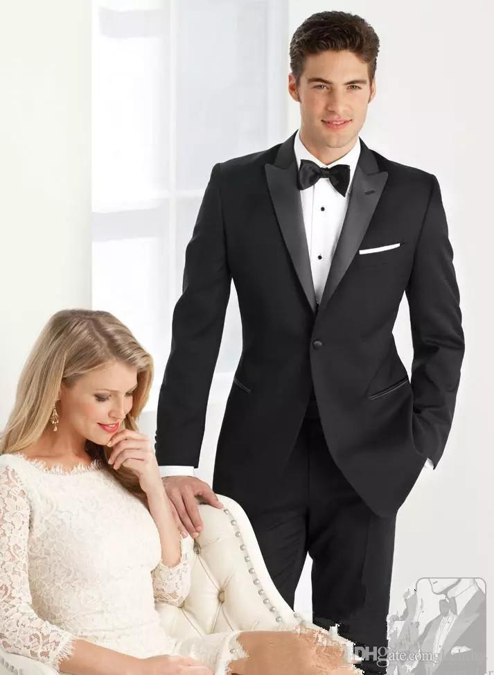 2018 Black Men Suits Custom Made Wedding Suits For Man Bridegroom Tailored Tuxedo Slim Fit Formal Groomsman Prom Best Man Handsome