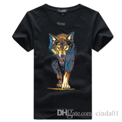 f03760050b Male Short T Shirt 3D Wolf Printed Men Summer Tee Cotton 9 Solid Color Crew  Neck Street Wear S 5XL Political Tee Shirts Funny Political T Shirts From  ...