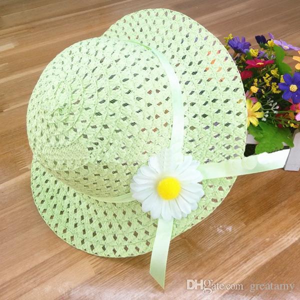Crianças cap sunhat viseira bebê menina fita floral chapéu de palha crianças chapéu de verão praia do bebê meninas flor chapéus de sol cap top quality
