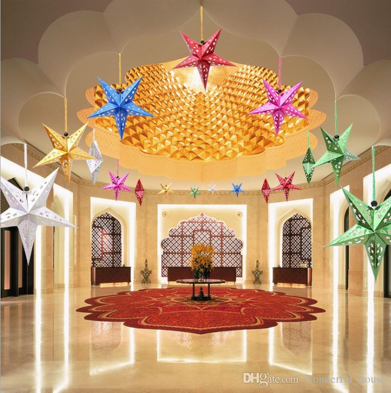 2018 christmas ceiling ornaments christmas pentagram paper decorations festive scene decorations christmas hotel mall party decortions dhl from - Christmas Ceiling Decorations