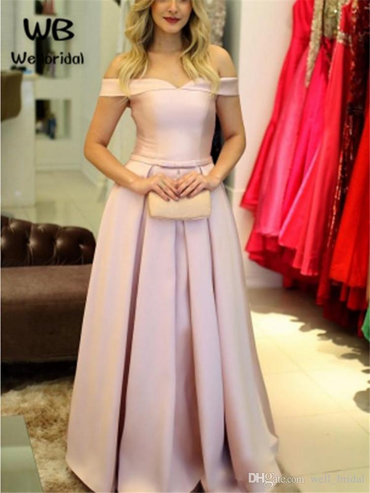 c88498905b Simple 2018 Blush Pink Off Shoulder Prom Dress long Short Sleeves Evening  Gown Satin Lace Up Back Evening Party Dresses Long For women