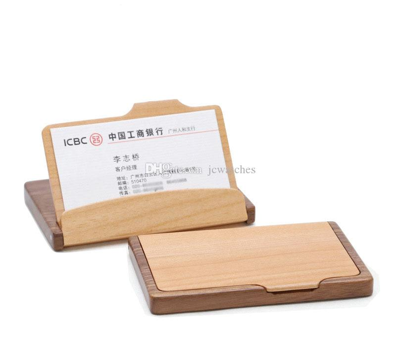 2018 Fashion Men Womenu0027S Unisex Wooden Business Name Id Credit Card Holder  Case Wood Card Storage Box Home Office Supplies From Jcwatches, $10.91 |  Dhgate.