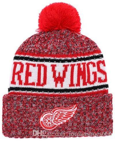 1e285771f3 Winter Hat DETROID wings Beanie Sideline Cold Weather Sport Knit Hat Wool  Bonnet Warm TD Graphite Official Reverse Cap Beanies 00