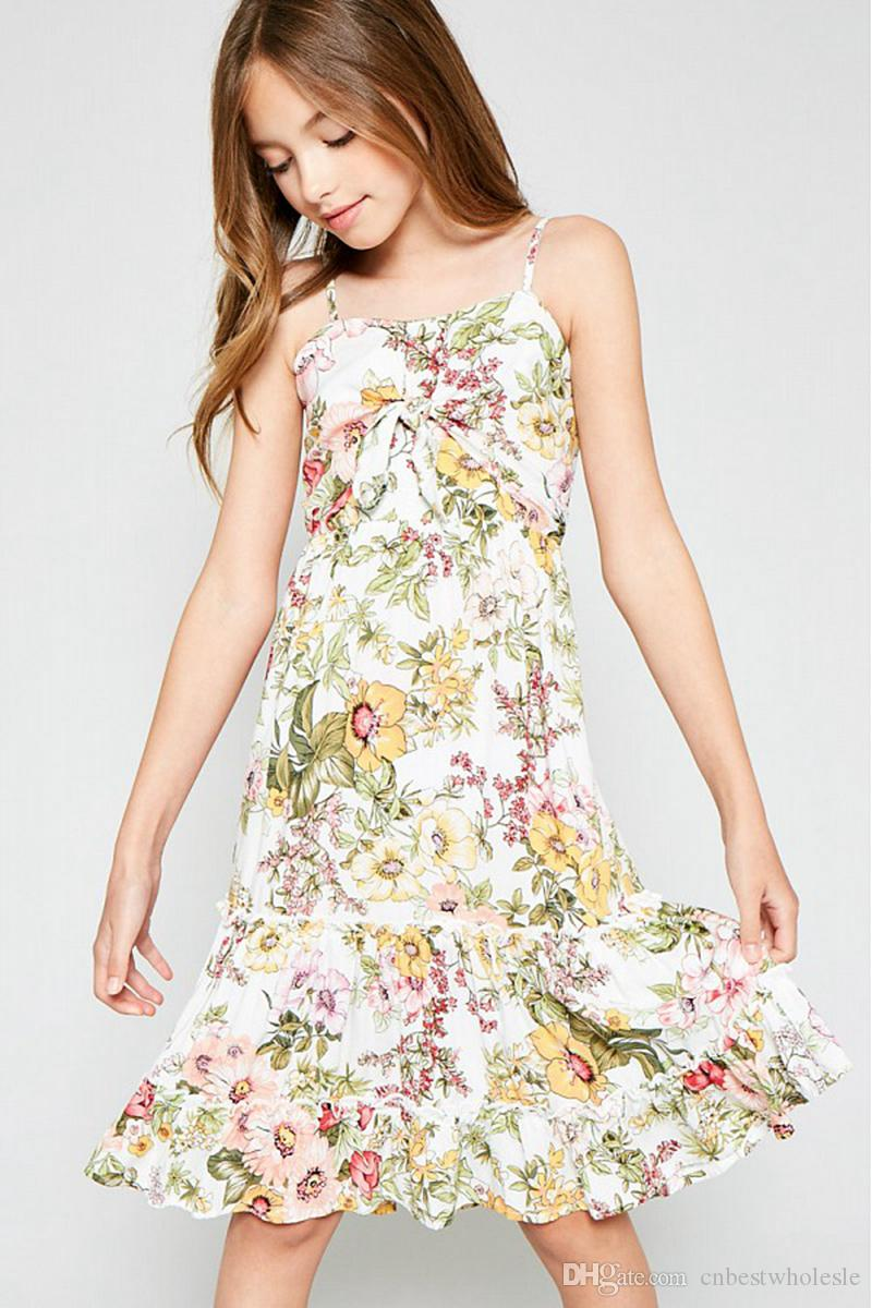 a7ec4b8ade0 2019 Big Girls Flower Dresses Teenager Printed Floral Dress Junior Singlet  Bow Dress Baby Girl Clothes Children Clothing From Cnbestwholesle