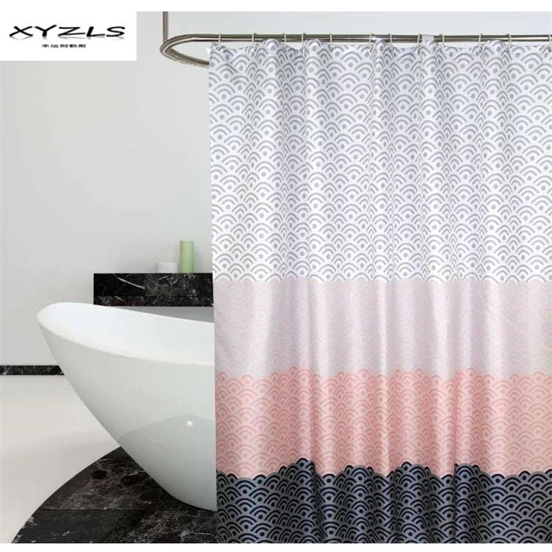 2019 XYZLS Modern Geometric Shower Curtain Waterproof Polyester Fabric Bathroom For The Deocrate With Plastic Hooks From Caronline