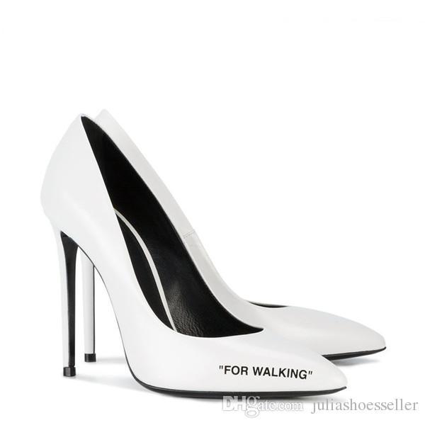 2018 Moda Tasarımcısı Yürüyüş Kadınlar Için Yüksek Topuklu Yüksek Kaliteli Deri Kadın Ayakkabı Seksi Sivri Burun Pompaları Moda Parti Elbise Ayakkabı