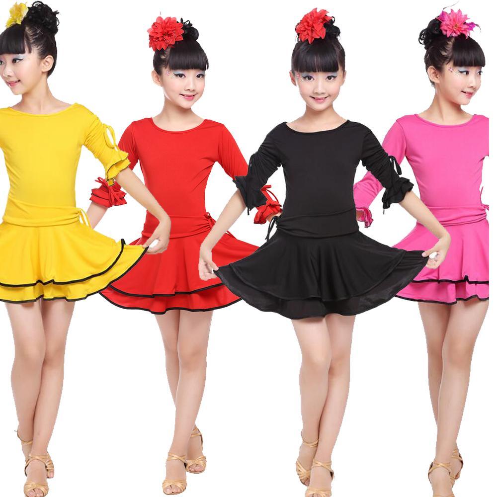 a1a97f609f3 Compre Colores Chica Fiesta Vestido De Etapa Vestido Latino Niños Estándar  Concurso De Baile Latino Vestimenta Salsa Para Niños Vestuario De Baile A  $22.23 ...