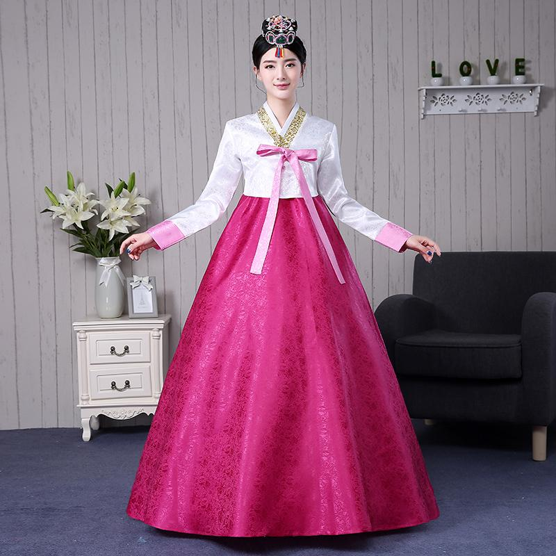 de8c656ee 2019 Korean Traditional Clothing Cotton Hanbok Korean Costumes Women Asian Style  Dresses Hanbok Dress Dance Performance From Songzhi, $55.26 | DHgate.Com