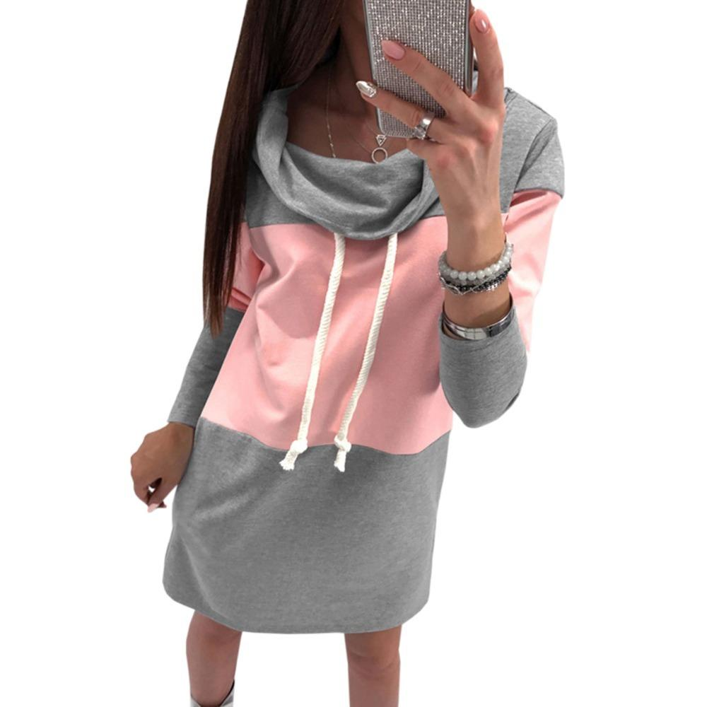 Hoodies Dress Women Turtleneck Drawstring Winter Warm Mini Dresses ...