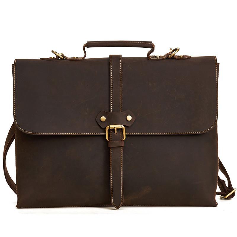 Aktentaschen Nesitu Vintage Männer Aktentasche Portfolio Business Echt Crazy Horse Echtes Leder 14 laptop Büro Messenger Taschen Männlichen M6358