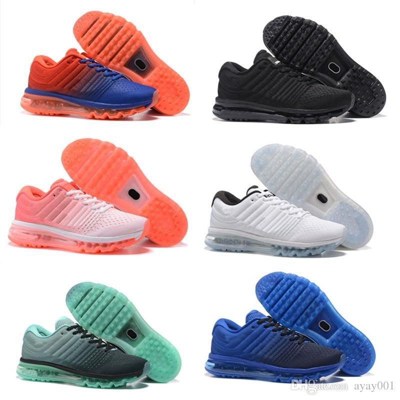 official photos f7cb2 e2c7b ... acheter 2017 hommes femmes chaussures tout noir avec blanc coussin dair  bleu glod chaussures en plas
