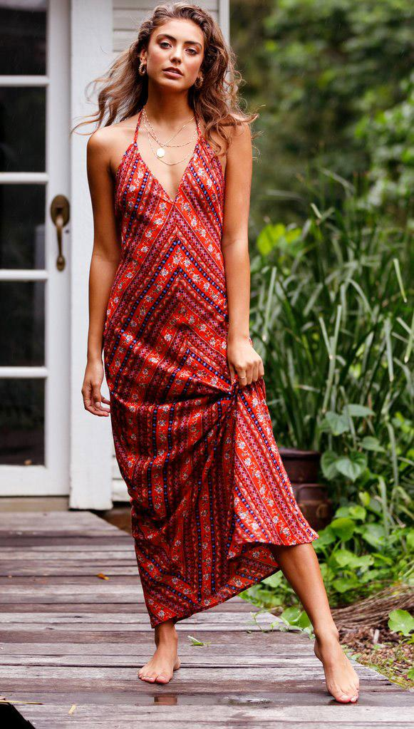 086f60a94b 2018 Spring And Summer Women S Clothing Casual Dresses Explosion Model  Fashion Trendy Skirt Sexy Print Halter Tie Back Dress ZC2658 Summer Flower  Dresses ...