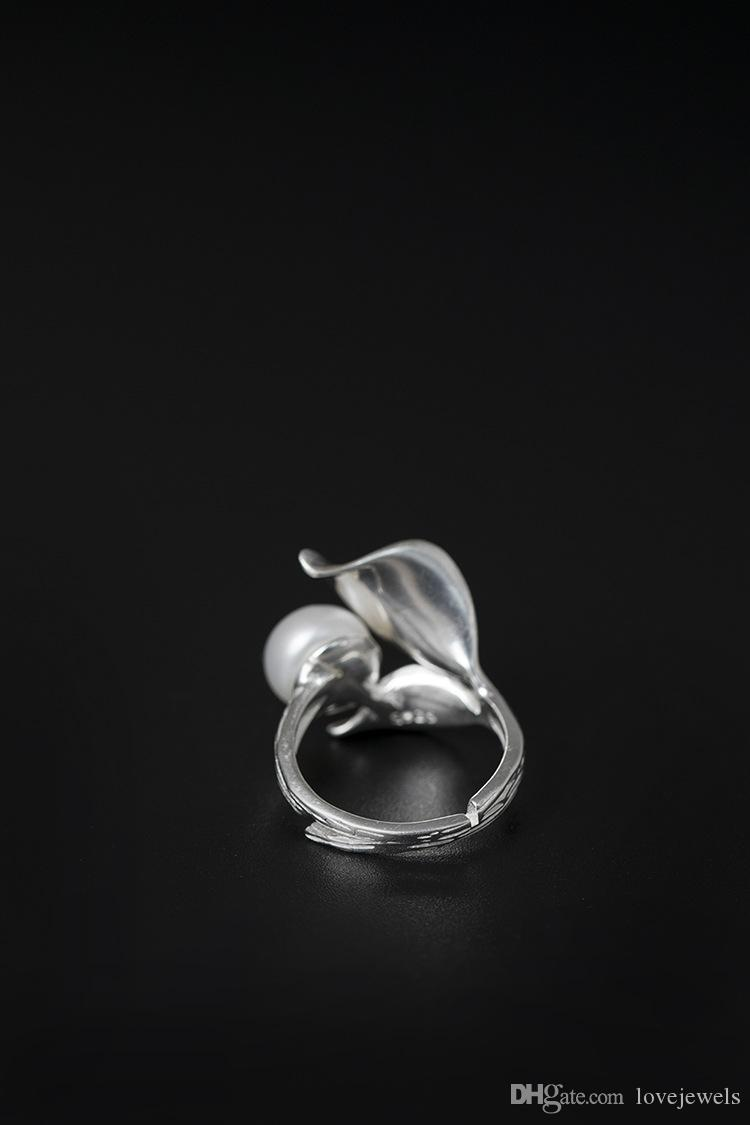 Charm fashion jewelry fine 925 silver Woman's ring Leaf open adjustable Natural pearl ring china direct wholesale