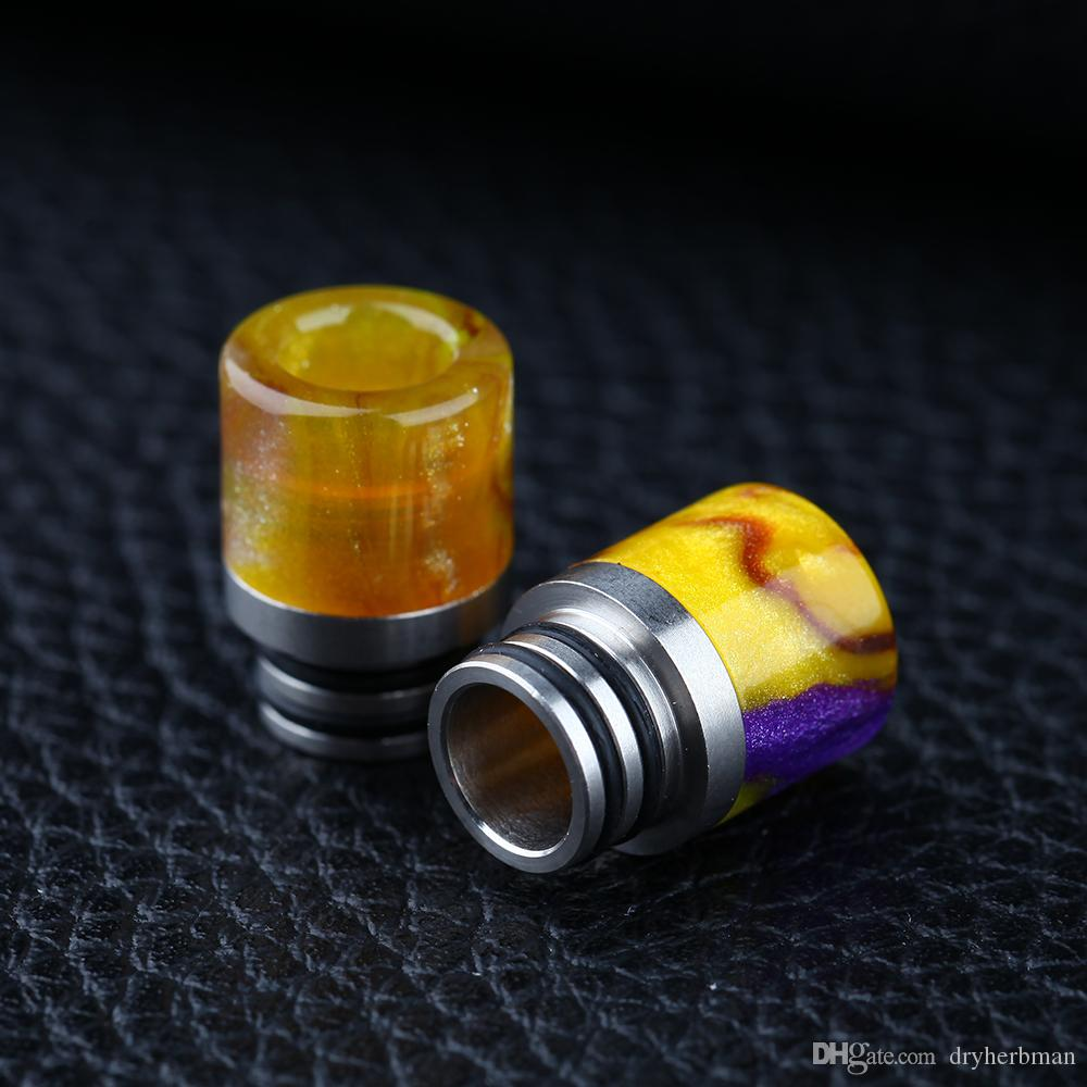 Most beautiful epoxy resin Drip Tip Stainless Steel 510 Long drip tip Bullet drip tips Gourd Mouthpiece for 510 RBA RDA Vaporizer Atomizer