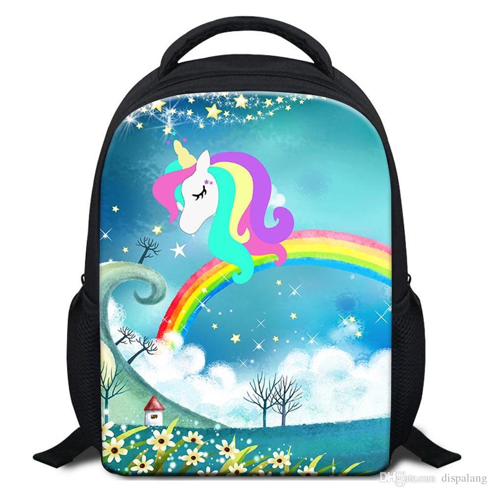 Child Lovely Design Unicorn Backpack To School Animal Prints Kids ... d2eb3764ed